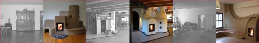 Speicherofen Bilder (Vorher - Nachher) von Lehm und Feuer, gemauert wie ein traditioneller Kachelofen, vereint die Vorteile des Grundofens mit künstlerischer Gestaltung.